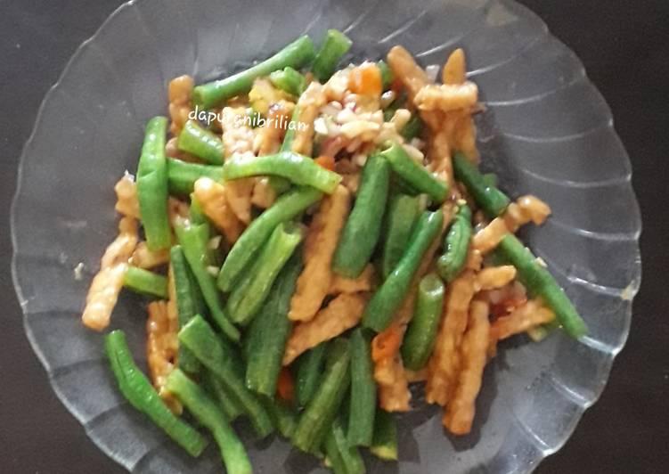 Resep Tumis kacang panjang mix tempe