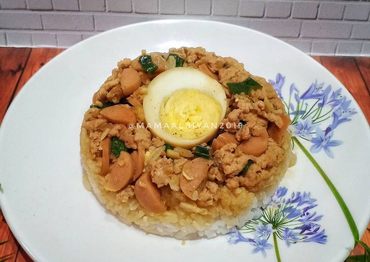 Resep 1Nasi Tim Ayam Sosis Simple