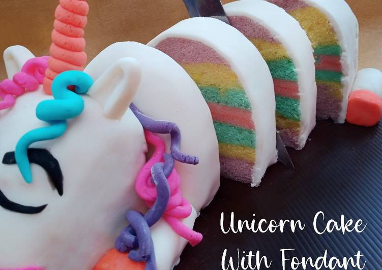 Resep Steamed Unicorn Cake with Fondant