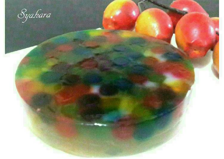 Resep Puding Kaca Polkadot Rainbow #Bikinbareng