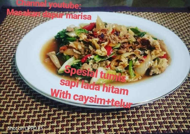 Resep Special,,,Tumis sapi lada hitam with caysim+telur