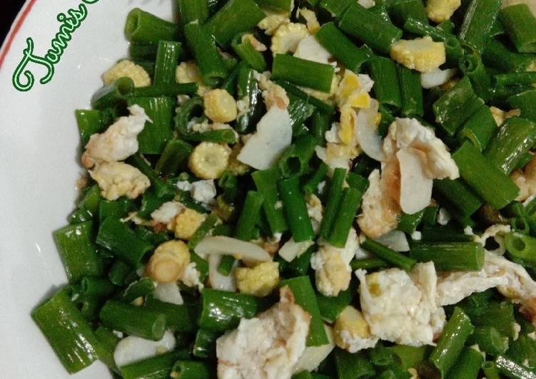 Resep Tumis Bunga Bawang + Jagung Putren
