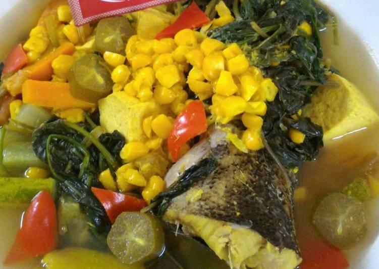 Resep Sayur Asem Kuning Jagung Manis dan Kangkung (Diet Enak Diabetes) #indonesiamemasak