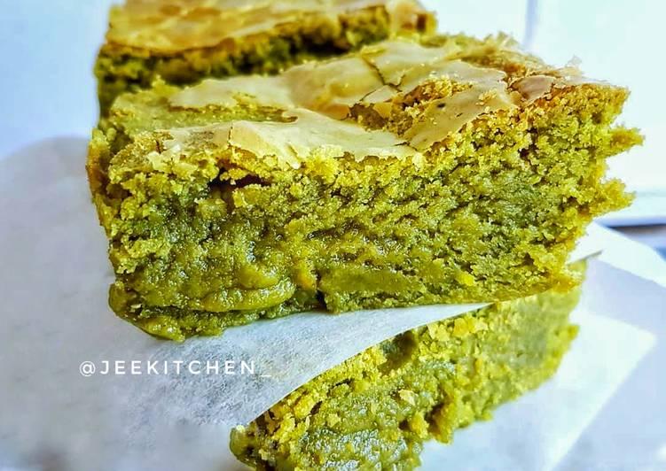 Resep Green Tea / Matcha Brownies (Chewy)