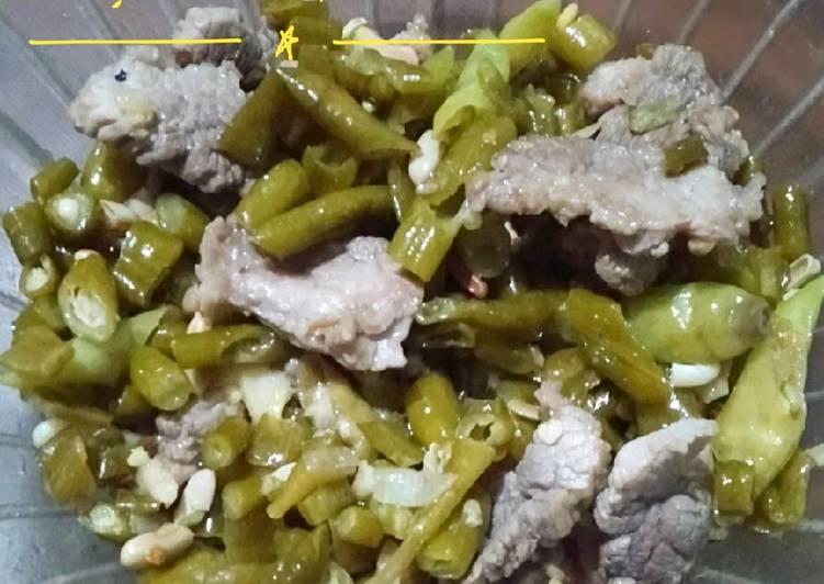 Resep Asinan kacang panjang tumis daging