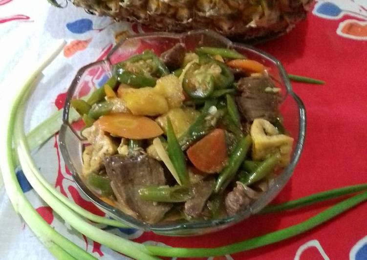 Resep Oseng daging iris asam manis