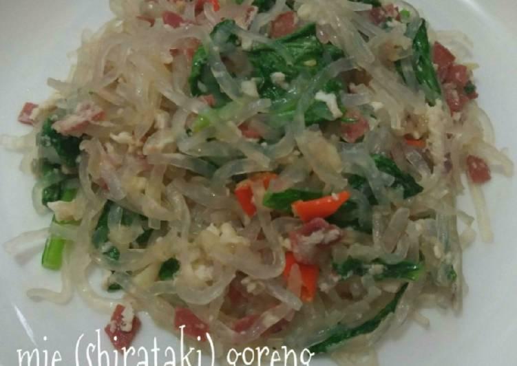 Resep Mie (shirataki) goreng - daging asap