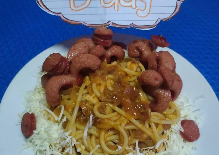 Resep Spaggeti hot sosis octopus