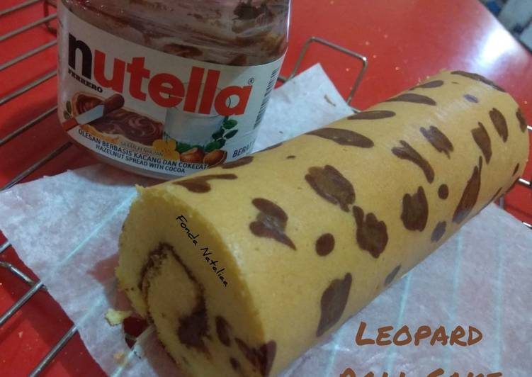 Resep Leopard Roll Cake with Nutella filling
