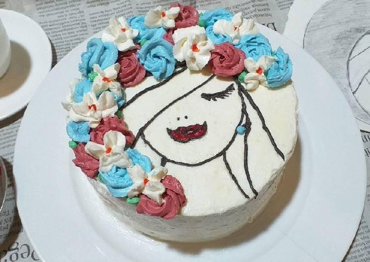 Resep Floral Face Cake Dengan Cake PisCok Fudge & Frosting Berkeju