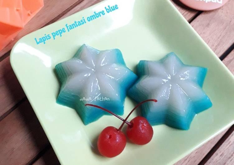 Resep Lapis pepe fantasi ombre blue