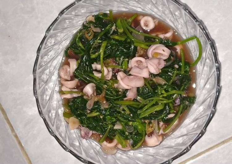 Resep Cah kangkung seafood saus teriyaki