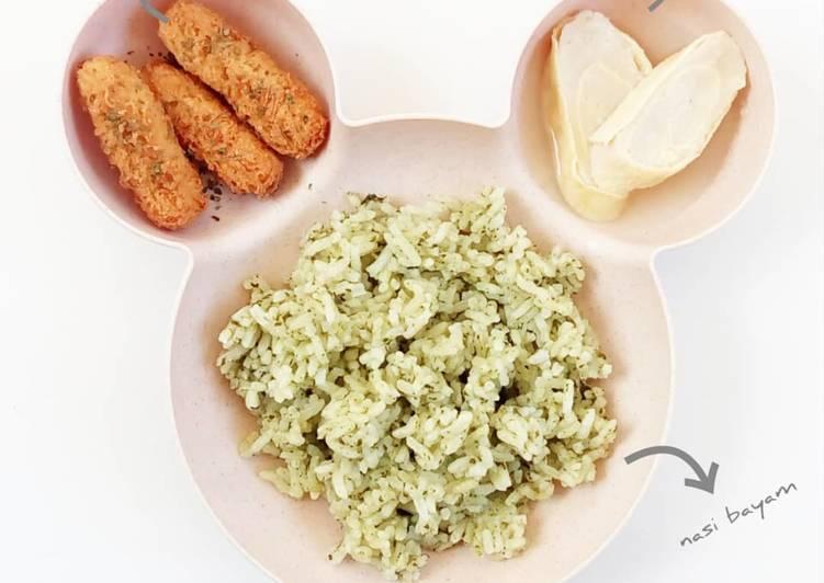 Resep Nasi Bayam + Stik Ayam Keju + Rolade Kuah - MPASI