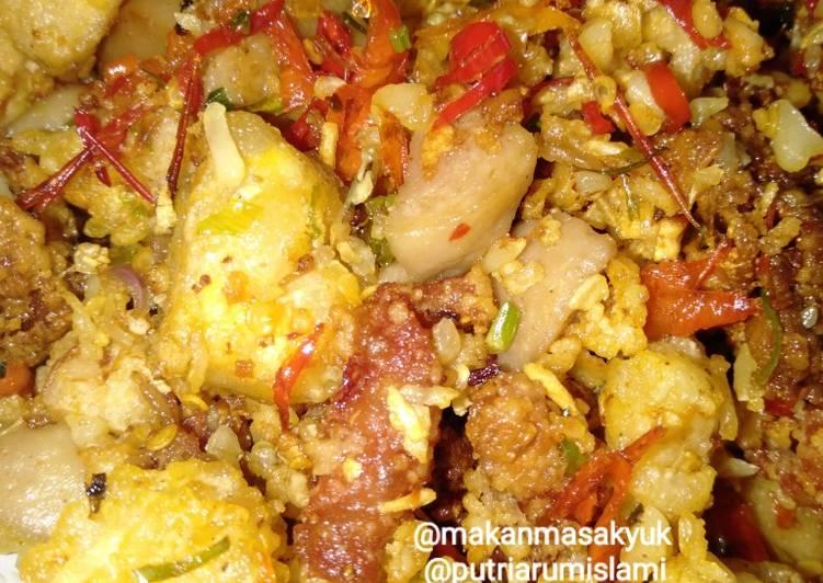 Resep Tahu, bakso, kulit ayam cabai garam