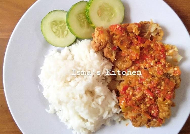 Resep Ayam geprek pedas ala bensu #week13