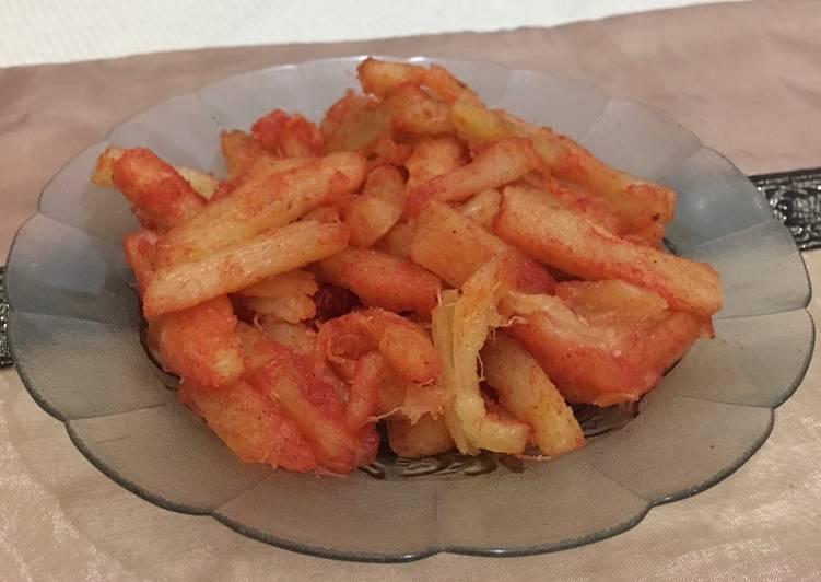 Resep Singkong stik pedas