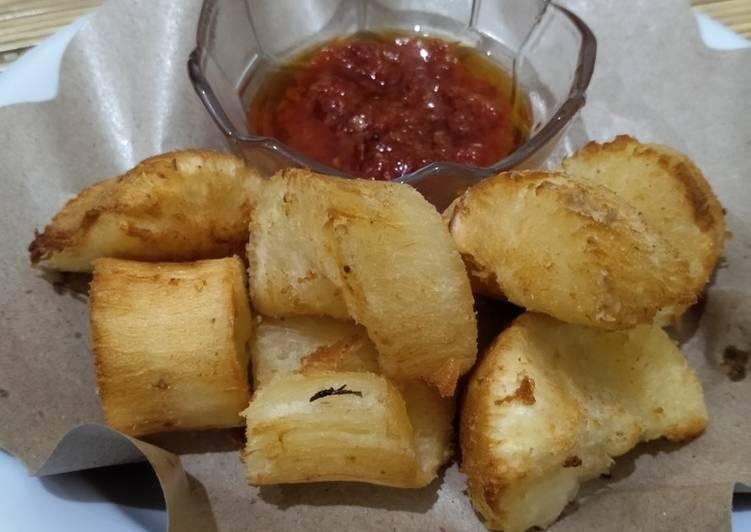 Resep Singkong Goreng mentega sambal bawang terasi