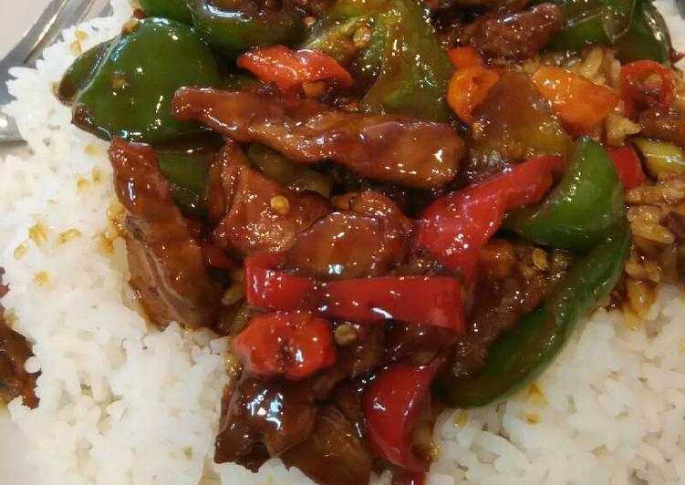 Resep Sapi cah paprika hijau(pedas)