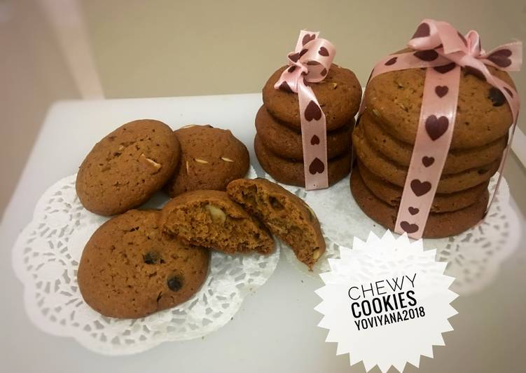 Resep Chewy cookies chocolate almond