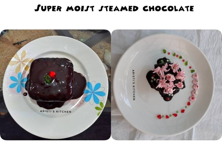 Resep Super moist steamed chocolate no mixer..no oven..