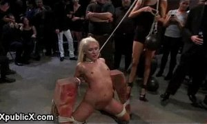 Blonde helpless bdsm babe dp fucked in public