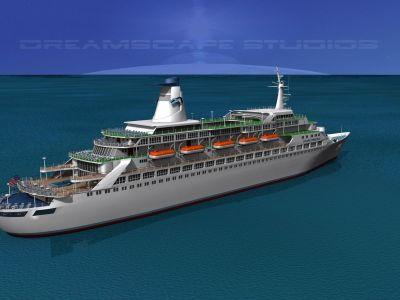 Dreamscape Cruise Ship Pacific Princess 3D Model rigged ...