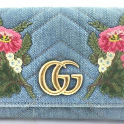 5c30d9b3933 Gucci Blue Marmont Gg Floral Embroidered Continental Wallet Tradesy