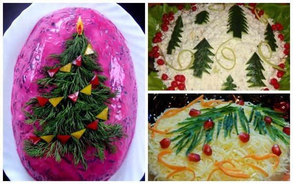 装飾が多くの時間がかからないことは明らかですが、サラダはお祝いのように見えますか?そしてそれは問題ではない、あなたは完全な成長または小枝だけで木を描いた。
