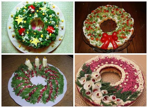 あなたがクリスマスの花輪が好きなら、なぜこのフォームにサラダを作らないのですか?私は自分自身を花輪のファンと考えていませんが、私はこの設定が間違いなく新しい年であるように見えることを認めなければなりません。