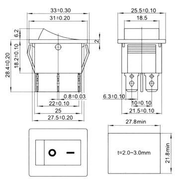 9e544eb715 ΞRocker switch 6 pinos à prova d  água