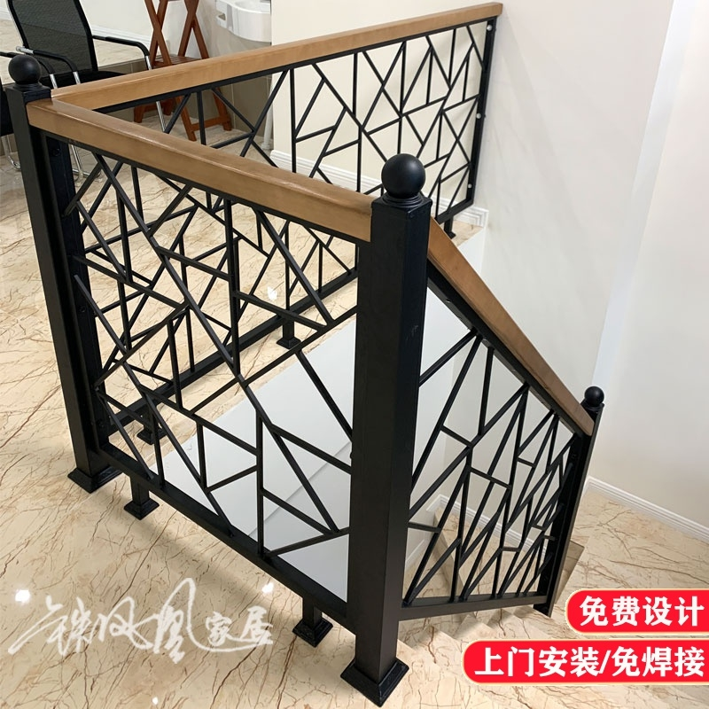 Simple Iron Stair Handrail Solid Wood Yang Staircase Attic   Iron Stair Railing Indoor   Interior Wrought   Wood   Cast Iron Balusters   Rod Iron   Railing Kits