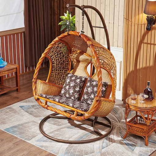 Hanging chair natural rattan nest basket swing chair indoor outdoor     Hanging chair natural rattan nest basket swing chair indoor outdoor balcony  double hammock hanging basket wicker chair