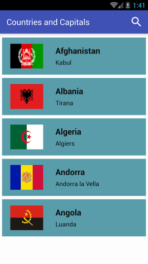 Android Countries and Capitals Screen 6