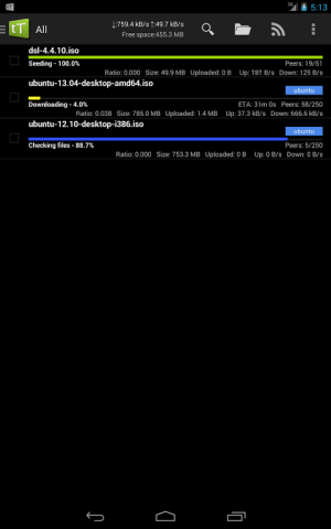 Android tTorrent Pro - Torrent Client Screen 2