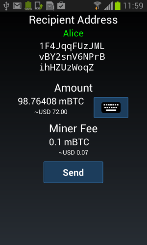 Android Mycelium Bitcoin Wallet Screen 6