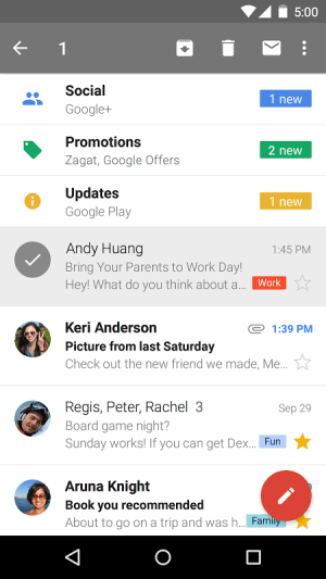 Android Gmail Screen 3