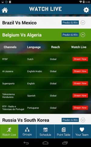 Android Live Football World Cup 2014 Screen 3