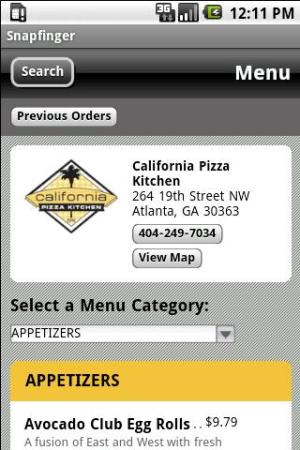 Android Snapfinger Restaurant Ordering Screen 1