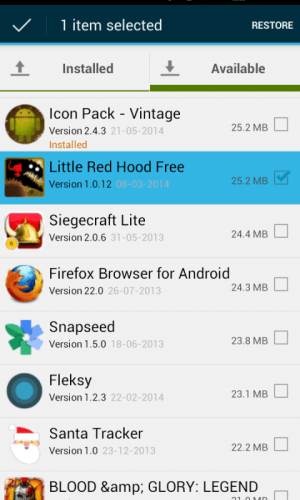 Android Aptoide Backup Apps Screen 4