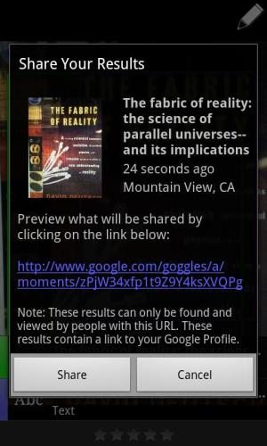 Android Google Goggles Screen 7