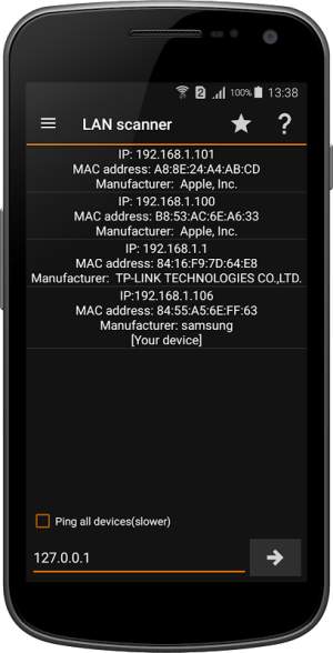 Android IP Tools: Network utilities Screen 4