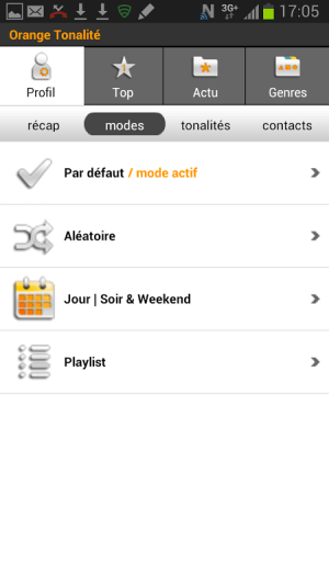 Android Orange Tonalité Screen 6