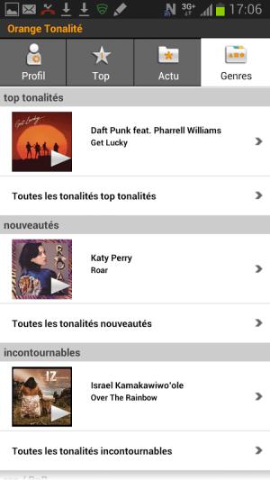 Android Orange Tonalité Screen 3
