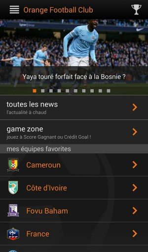 Android Orange Football Club Afrique Screen 1