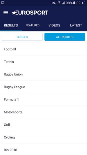 Android Eurosport Screen 9