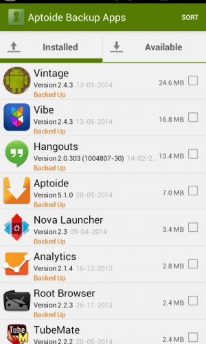 Android Aptoide Backup Apps Screen 6