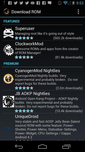 Android ROM Manager Screen 1
