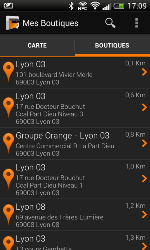 Android Mes Boutiques Screen 1