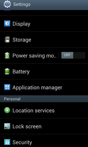 Android Settings Screen 1