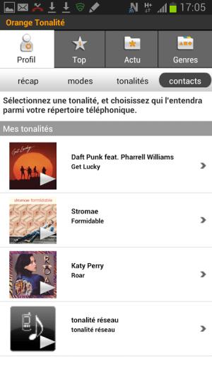 Android Orange Tonalité Screen 5